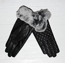 Интересные, модные, чёрные женские перчатки из натуральной кожи, меха