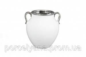 Керамическая ваза Amphora 190мм белая серебро