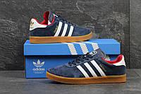 Мужские кроссовки Adidas Gazelle темно синие 3267