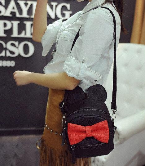 Рюкзак сумка Mikki женский кожзам чёрный с Ушками