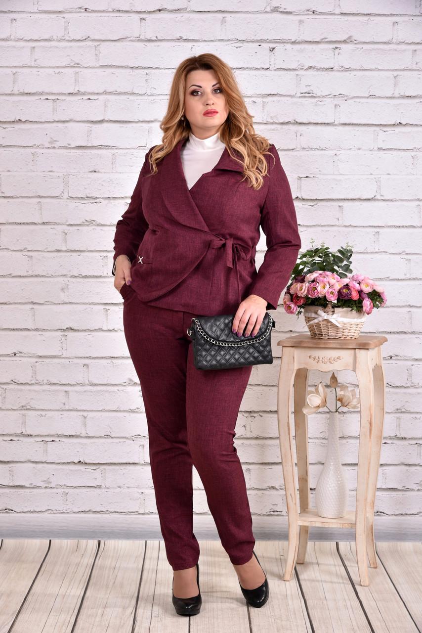 Бордовый пиджак на запахе   0585-3