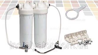 """Колба проточного фильтра Atlas Filtri BRAVO DP DUO  BW  10"""", водоразборный кран + кран подключения"""