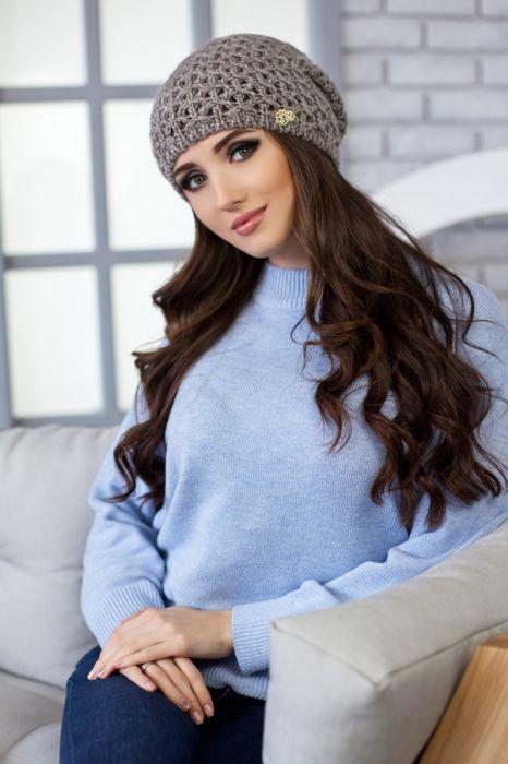 Зимняя женская шапка «Денвер» Темный кофе