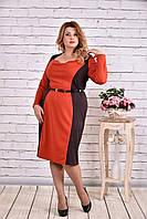Яркое оранжевое платье из трикотажа | 0611-3
