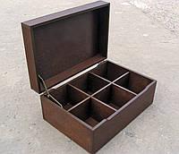 Шкатулка для пакетиков чая 6 ячеек, цвет коричневый, фото 1