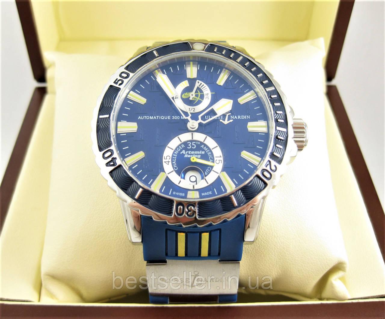 Часы Ulysse Nardin DIVER CHRONOMETER (Механика) Silver Blue. Replica  AAA 2d2bb791957