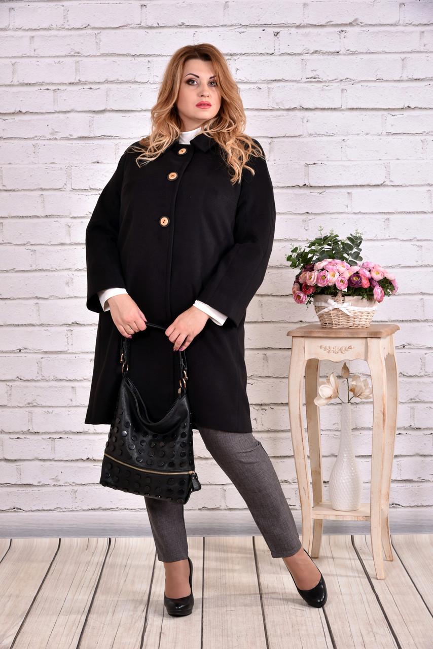 Демисезонное черное пальто строгого стиля   t0614-3