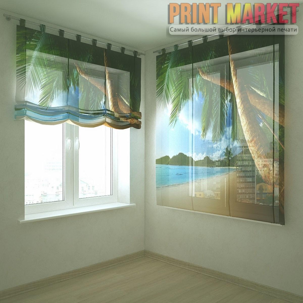 Шторы с фотопечатью вода и пальмы