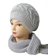 Комплект шапка и шарф женский вязаный Lorena шерсть с ангорой серого светлого цвета