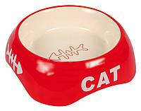 Trixiе Миска керамическая для кошки с рисунком рыбья кость, 0.2л/13см (3 цвета)