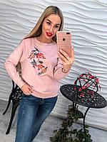 Милый женский свитерок с вышивкой