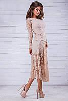 Гипюровый женский костюм блузка и юбка