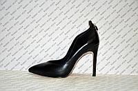 Туфли лодочки на шпильке черные эко-кожа