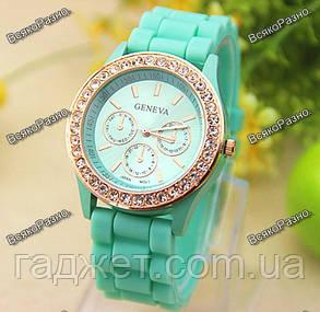 Женские часы Geneva со стразами мятного цвета. Женские часы., фото 2