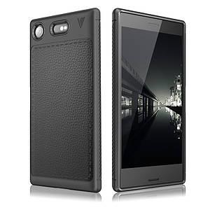 Чехол накладка для Sony Xperia XZ1 Compact силиконовый с кожаной вставкой, IVSO Gentry Series, Черный