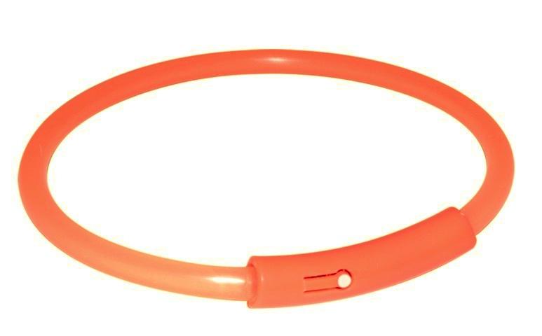 TRIXIE (Трикси) SAFER LIFE  Light Band - пластиковый светящйся ошейник для собак XL, 58см, оранжевый