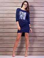Трикотажное платье футляр с карманами отвороты на рукавах  2067