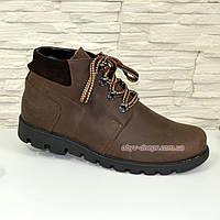 Ботинки мужские рыжего цвета на шнуровке, нубук+замш, фото 1
