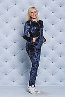 Костюм велюровый женский бомбер+штаны т.синий