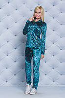 Костюм велюровый женский бомбер+штаны бирюза