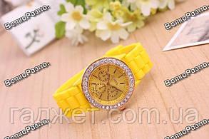 Женские часы Geneva со стразами желтого цвета. Женские часы., фото 2