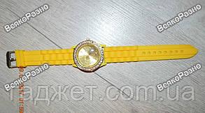 Женские часы Geneva со стразами желтого цвета. Женские часы., фото 3