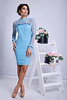 """Женское платье с гипюром """"Виталина"""" (голубой), фото 1"""