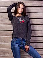Черная меланжевая кофта с аппликацией красной розы