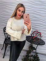 Мягкий свитер со стразами