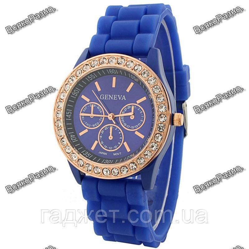 Женские часы Geneva со стразами синего цвета. Женские часы.