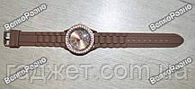 Женские часы Geneva со стразами шоколадного цвета., фото 3