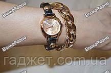 Женские наручные часы с декоративной цепочкой черного цвета.Женские часы., фото 3