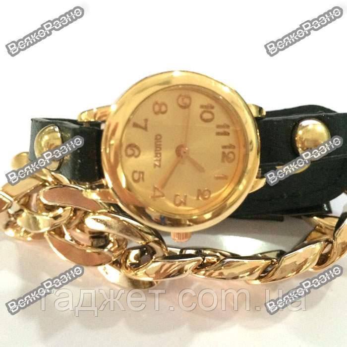 Женские наручные часы с декоративной цепочкой черного цвета.Женские часы.