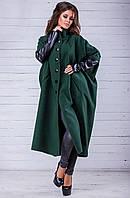 Кашемировое пальто с кожаными рукавами батал