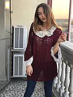 Свитер женский с декоративными рукавами и воротом Турция