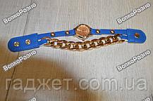 Женские наручные часы с декоративной цепочкой синего цвета, фото 2