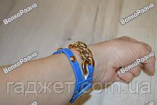 Женские наручные часы с декоративной цепочкой синего цвета, фото 3
