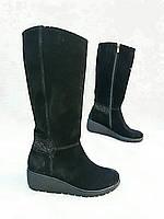 Зимние кожаные сапоги из натурального замша