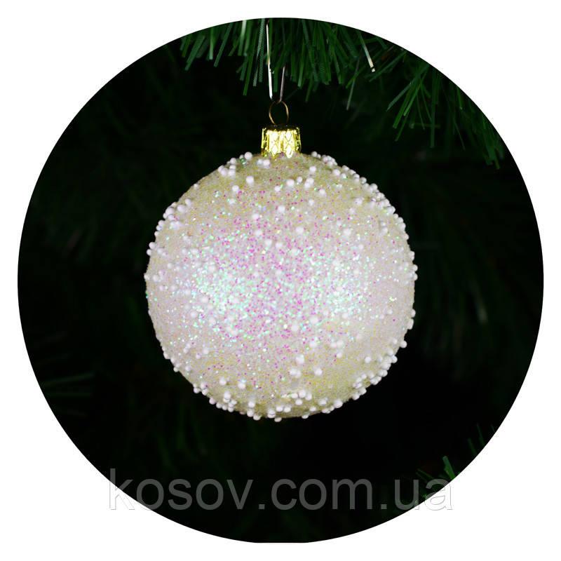 """Новогодний елочный шар """"Снегопад"""" 80мм (белый)"""
