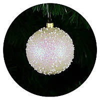 """Новогодний елочный шар """"Снегопад"""" 80мм (белый), фото 1"""