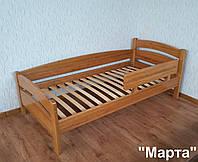 """Детская кровать с барьером """"Марта"""" (190\200*90). Массив - ольха. Палитра - 10 цветов."""