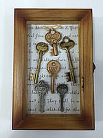 """Ключница  настенная, деревянная -"""" Ключи под стеклом """" 60635"""