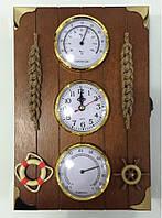 """Ключница  настенная, деревянная -"""" Часы,термометр и гигрометр """" 60126"""