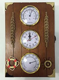 """Ключниця настінна, дерев'яна -"""" Годинник,термометр і гігрометр """" 60126"""