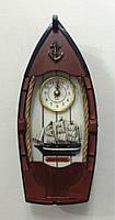 """Ключница  настенная, деревянная с часами - """" Лодка """""""