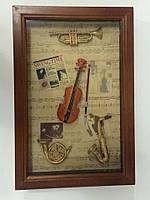 """Ключница  настенная, деревянная -"""" Музыкальные инструменты """""""