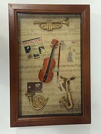"""Ключниця настінна, дерев'яна -"""" Музичні інструменти """" 21039 A"""