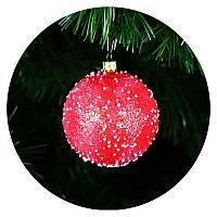 "Новогодний елочный шар ""Снегопад"" 100мм (красная)"