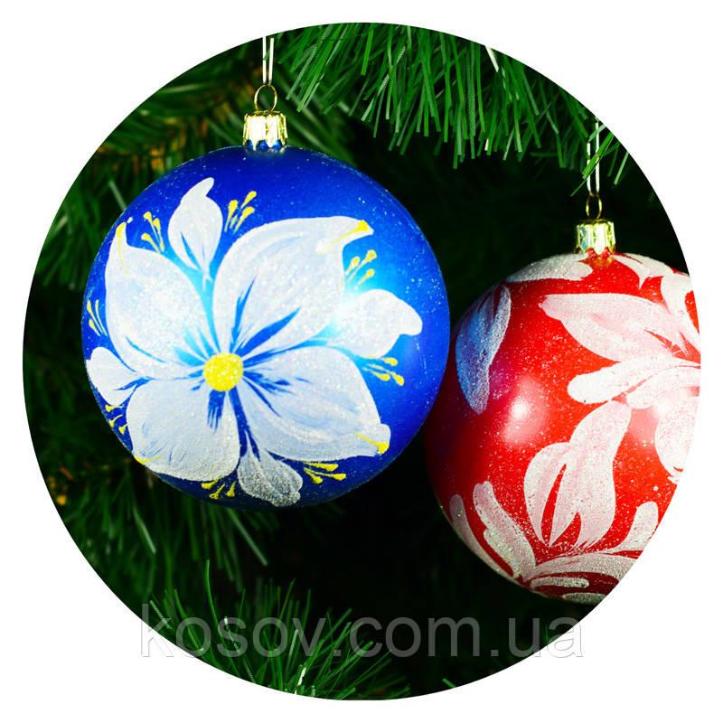 "Новогодний елочный шар ""Роспись"" 100мм"
