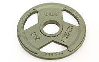 Блины стальные окрашенные (диски стальные) с с тройным хватом и металлической втулкой 8026- 2,5: 2,5кг, d 52мм, фото 1